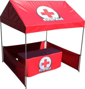 First Aid Tent w/ 6' Table & Table Skirt-Installed