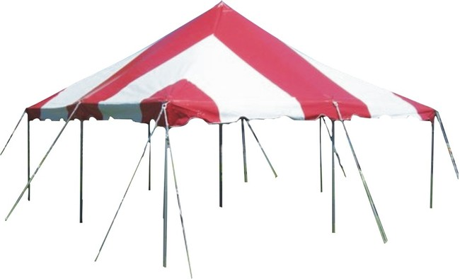 20' x 20' Red/White Pole Tent